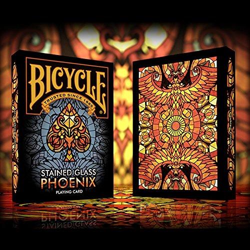 Bicycle Stained Glass Phoenix Edition Playing Cards   Premium Poker-Deck   3 Look & Feel Karten GRATIS   Pokerkarten Kartenspiel   Spielkarten zum Pokern und Sammeln in der LuxTri Sonderedition
