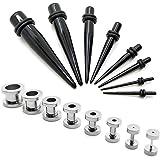 1 Set dilatatore taper nero e 1 Set tunnel estensore tappo piercing 1,6-10mm
