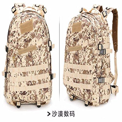 Oxford Pack Outdoor Bergsteigen bag Schulter Taschen für Männer und Frauen wandern Taschen Camouflage Rucksack 46 * 33 * 18 cm, tri-Sand Farbe Wüste Digital