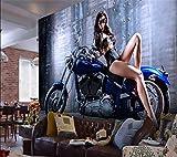LHDLily 3D Papier peint Wallpaper Fresque Mural Papier Peint Personnalisé Mur À L'Arrière-Plan D'Outillage Bar Ktv Sexy Beauté Bleu Décoratif Mur Papier Peint 3D Moto 400cmX300cm