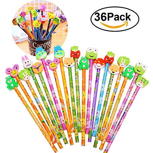 Gudotra set 36 pcs matita in legno con gomma colorate bomboniera regalino per regalo bambini festa compleanno battesimo comunione natale (36)