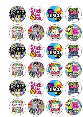 Lot de 24 décorations rondes la Seventies 1970 's Disco Thème rétro plaquette comestibles Papier Cake Toppers