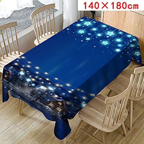 FeiliandaJJ Tischdecke Blau Abwaschbar Pflegeleicht Tisch Cover für Valentinstag Hochzeit Party Outdoor Hotel Dekoration (Blau, D(140X180cm))
