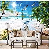 Papier Peint Mural Personnalisé 3D Stickers Photo Mural Palm voile mouette océan plage murale