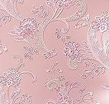 CNFIP 3D Dreidimensional Große Blume Salon Schlafzimmer TV Kulisse Non-Woven Tapete Multicolor 32,8 IN Lang Breite 1,74 IN,Pink