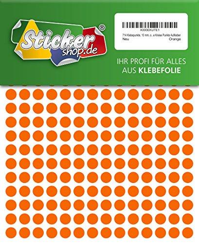 714Sticky puntos, 10mm, Naranja, PVC, resistente a la intemperie, codificación Dots, círculos, puntos adhesivos