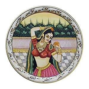 Arts of Rajasthan Hand Painted Marble Plate (30.48 cm x 1.5 cm x 30.48 cm)