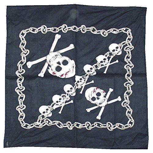 Smiffys Unisex Piraten Kopftuch, Totenschädel Druck, One Size, Schwarz, - Herren Piraten Kostüm Muster