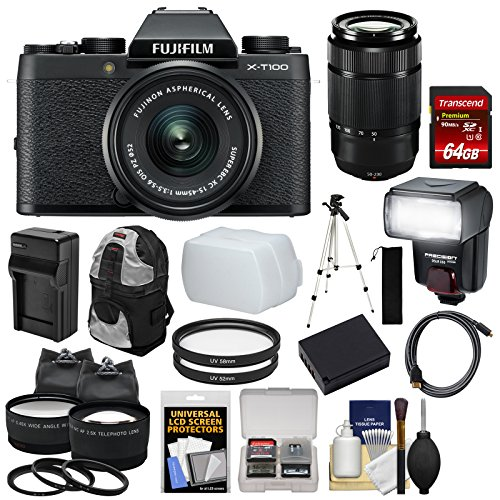 Fujifilm X-T100 Digital Camera & 15-45mm XC OIS PZ (Black) & 50-230mm Lens + 64GB Card + Battery + Charger + Flash + Backpack + 2 Lens Kit