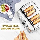 Aicok Toaster, 4-Scheiben Edelstahl Toaster mit 7 Brot Browning Einstellungen, abnehmbare Krümelschublade, Bagel/Auftauen/Abbrechen Funktion, schnell Toast Muffins, Waffel, 1400W-1700W, Silber - 8