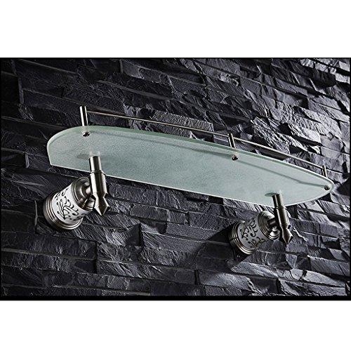 ZHEN GUO Salle de bains Lavabo Unique en verre mat étagère mural, brossé SUS304 acier inoxydable et base de céramique organisateur de douche