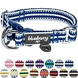 Blueberry Pet Hundehalsband in normaler oder Martingale-Ausführung, mehrfarbig gestreift, 3M-Reflexfäden