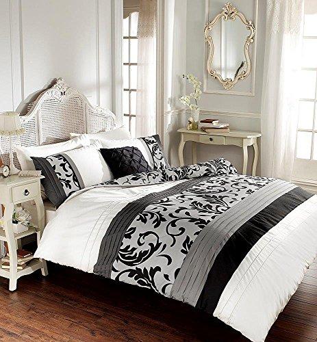 Gaveno Cavalia Signature-Kollektion Scroll Bettbezug-Set mit Decken- und Kissenbezug, Schwarz, Schwarz, Einzelbett -