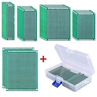 AUSTOR 36 Stück Doppelseitig Lochrasterplatte Prototype Lochrasterplatine Mit Freiem Kasten, 5 Größen für DIY Löten und Elektronisches Projekt