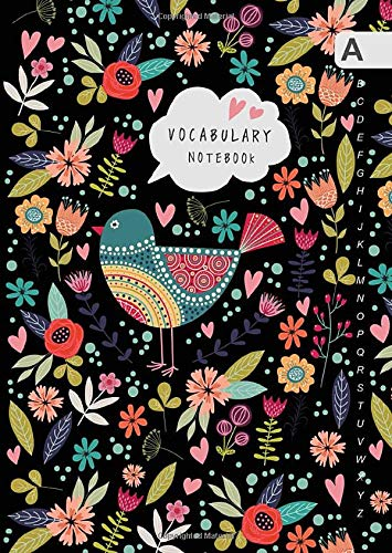 Vocabulary Notebook: B6 Notebook 2 Columns Small with A-Z Alphabetical Tabs Printed   Folk Bird and Floral Design Black (Notebook Paper 7 X 9)