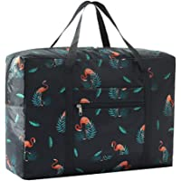 VOHONEY Foldable Gym Duffle Tote Bag Waterproof Lightweight Holdall for Women (Foldable Duffle Bag for Black Flamingo)