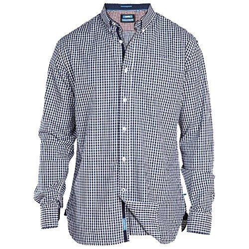 Uomo A Scacchi Tartan Camicie D555 Duke Grande Misura King Con Colletto A Maniche Lunghe Nuovo - Blu - DANEBIG, 4X Large