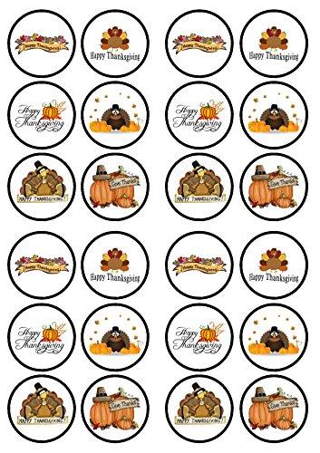 Thanksgiving, Erntedankfest, Essbare PREMIUM Dicke GEZUCKERTE Vanille, Wafer Reispapier Cupcake Toppers/Dekorationen