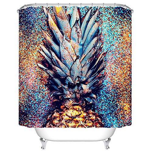 ormis flackernde Ananas Polyester-Schimmelresistent-Dusche Vorhang Set mit Haken Badezimmer Zubehör 183cm x 183cm