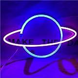 QiaoFei Panneau néon LED Planet pour enfants - Éclairage néon décoratif - Lampe à piles ou USB - Décoration murale - Bleu et