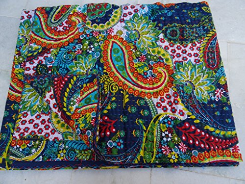 Asian-queen-size-quilt (Tribal Asian Textiles Multicolor Paisley Print QUEEN Size Kantha Quilt, Kantha Blanket, Bed Cover, Kantha bedspread, Bohemian Bedding Kantha Size 90 Inch x 108 Inch 11114 by Tribal Asian Textiles)