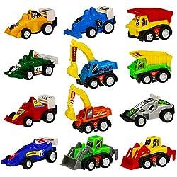 Juguetes para Coche   Juegos set de Construccion   Car Model   Camion   Camiones   Coche de Carreras   Juguetes Educativos   Regalos para Niños 12 Pcs (Color Diferente)