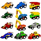 Mini Pull Back Car Truck Model Racing Games Vehicle Play Set Toys for Kids 12 Pcs