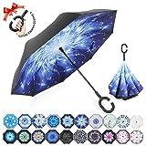 ZOMAKE Inverted Stockschirme, Innovative Schirme Double Layer, Winddicht Regenschirm, Freie Hand,Umgedrehter Regenschirm mit C Griff für Auto Outdoor (Meteor)