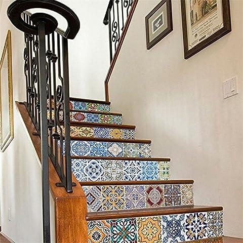 style escalier tile autocollants créatif imitation 3d étanches 18cm escalier de rénovation autocollants 100 *