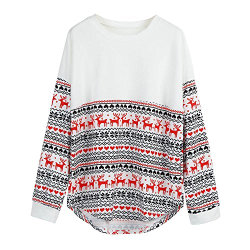 OSYARD Navidad Jersey de Punto Vacaciones Sudadera Mujeres Feliz Camisetas largas Blusas sin Mangas Camisa Renos Flores impresión Ropa Superior Cuello Redondo suéteres(2XL, Blanco)