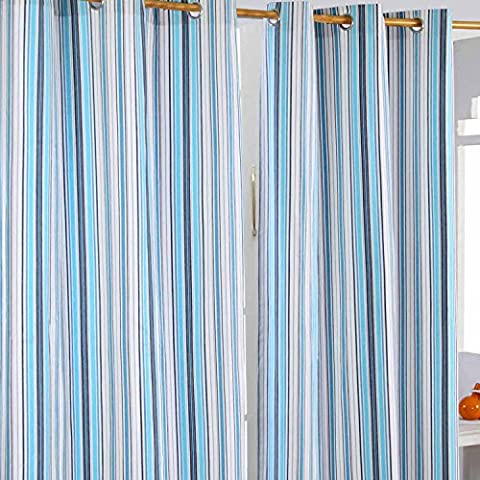Homescapes Ösenvorhang blickdicht New England Streifen Blau Marineblau Weiß Dekoschal 2er Set Breite 137 x Länge 182 cm Vorhang Paar 100%