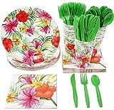 Hawaiian Luau party supplies–serve 24–include piatti, forchette, cucchiai, coltelli, bicchieri e tovaglioli perfetto per compleanni e Summer Luau