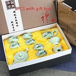 CUPWENH Chinesischen Stil Handbemalt Vintage Muster Celadon Teeutensilien Set Tassen Filter Messe Cup Teapot Für Zu Hause Tee Zeremonie Hochzeit Geschenk, C