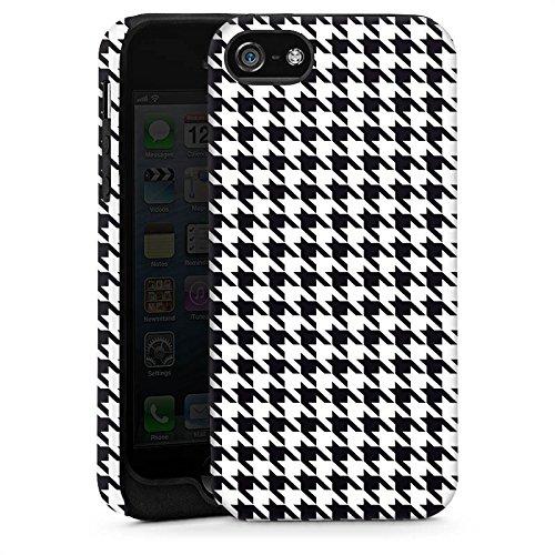 Apple iPhone 5s Housse étui coque protection Noir et blanc Carreau Cas Tough brillant