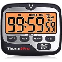 ThermoPro TM01 Timer da Cucina Digitale con Conto alla Rovescia e Cronometro Timer Orologio Magnetico con Sveglia ad Alto Volume Regolabile e Ampio Display LCD Retroilluminato