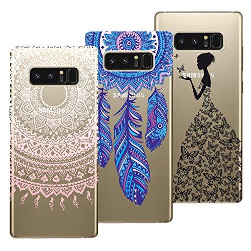 Preisvergleich Produktbild Yokata [3 Packs für Samsung Galaxy Note 8 Hülle Silikon Transparent Durchsichtig Handyhülle Schutzhülle TPU Ultra Dünn Slim Kratzfest mit Motiv Muster - Mandala + Feder + Mädchen und Schmetterling