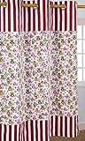 Homescapes Kindervorhang Mädchen Kinderzimmer Ösenvorhang Dekoschal Eule 2er Set orange rosa weiß 137 x 228 cm (Breite x Länge je Vorhang) 100% reine Baumwolle