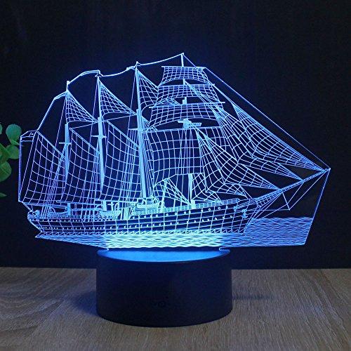 Segelboot 3D Optische Illusions-Lampen, FZAI Tolle 7 Farbwechsel Acryl berühren Tabelle Schreibtisch-Nachtlicht mit 150 cm USB-Kabel für Kinder Schlafzimmer Weihnachten Geburtstagsgeschenke (Lampe Tabelle)