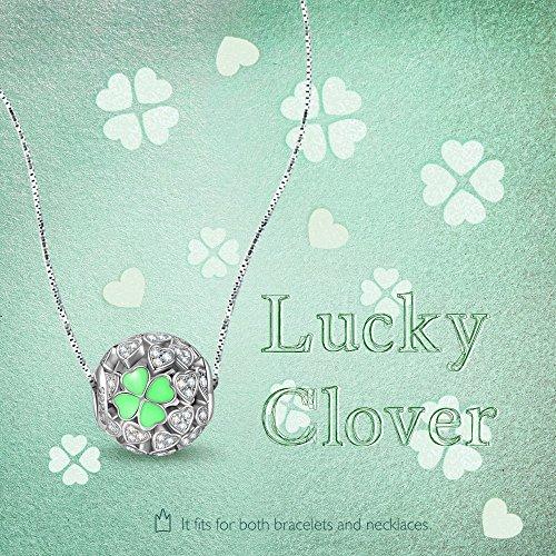 NinaQueen - Trefle porte-bonheur - Charm pour femme argent 925 Trefle porte-bonheur Perle vert