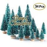 Xueliee, set di 34 mini alberi di Natale con aghi in agave, aspetto innevato, in plastica, decorazioni invernali da tavolo 34 pezzi.