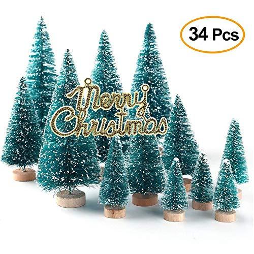 Xueliee set di 34 mini alberi di Natale con aghi agave aspetto innevato plastica decorazioni invernali da tavolo 34 pezzi.