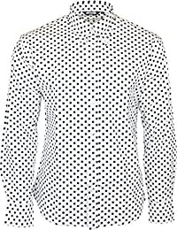 35cc1f7f1 Relco Men's White Polka Dot Longsleeve Button Down 100% Cotton Shirt