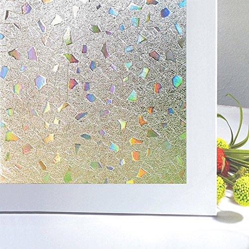 Zindoo Sichtschutzfolie Fenster Fensterfolie Glas Filme Tür Filme Sichtschutz Folie nicht klebend Fenster Deko 3D Unregelmäßige Squares Muster für Home Küche Büro 44.5 x 200 cm