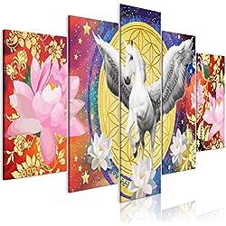 murando - Cuadro acústico Pegaso 200x100 cm - Lienzo 5 Piezas - Cuadros XXL - Panel de Pared - Blume Des Lebens g-A-0143-b-m