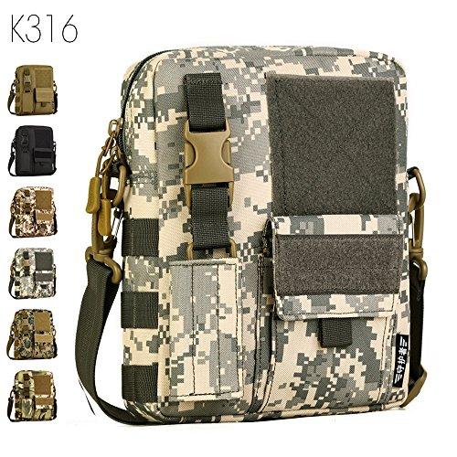 Taktisch Molle Umhängetasche, 6 Farben Outdoor Kamera Daypack Rucksack Handtasche Schultertasche mit Trageriemen von FLYHAWK K316-ACU Digital
