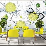 murando - Fototapete Küche 400x280 cm - Vlies Tapete - Moderne Wanddeko - Design Tapete - Wandtapete - Wand Dekoration - Obst Limone Zitrone grün weiß Wasser Eis 10110908-3