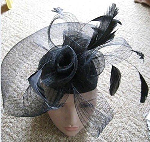Black Net Fascinator Hat Veil - Wedding Ascot Races Hair Accessories Clip  by NA 538e28272a7