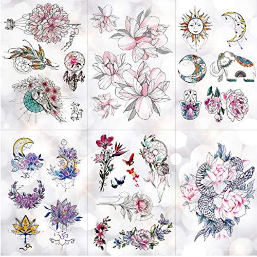 Blume Totem Dream Catcher Schmetterling Mond Temporäre Tätowierung Aufkleber Anhänger Puppe Aquarell Tattoo Body Art Falsche ()