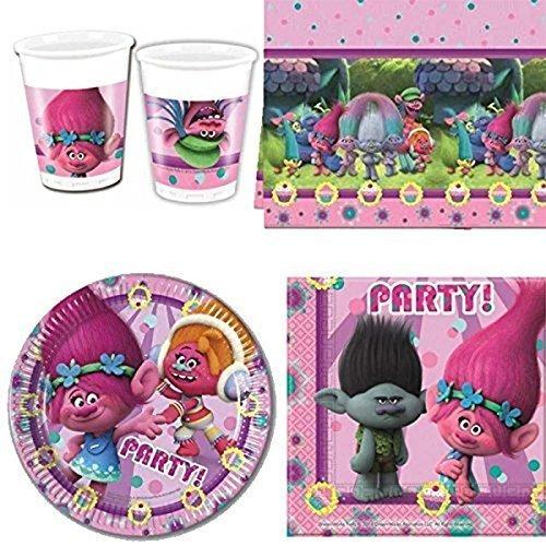 DreamWorks BPWFA Ensemble de fête à Motif Trolls avec 16 gobelets, 16 Serviettes, 16 Assiettes en Carton et 1 Nappe