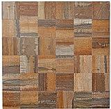 Mosaik Fliese selbstklebend Aluminium braun metall Holzoptik dunkel für BODEN WAND BAD WC DUSCHE KÜCHE FLIESENSPIEGEL THEKENVERKLEIDUNG BADEWANNENVERKLEIDUNG Mosaikmatte Mosaikplatte
